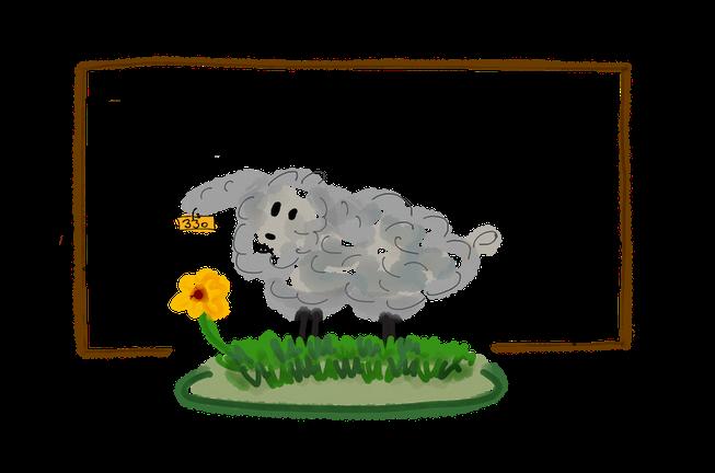 Schaf auf Wiese gezeichnet